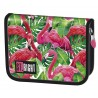 Piórnik dwuklapkowy ST.RIGHT FLAMINGO PINK & GREEN flamingi PC03
