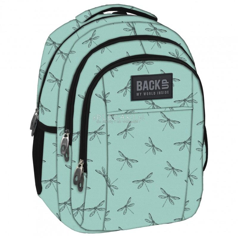 fd21c91b9137d Plecak BackUP H 23 miętowy w ważki do szkoły - modny plecak dla dziewczynki
