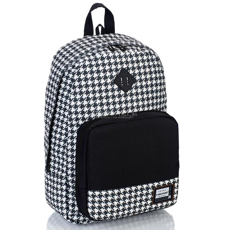 3abd81374fba6 Plecak młodzieżowy HEAD w pepitkę HD-53 F czarno-biały dla dziewczyny  miejski plecak