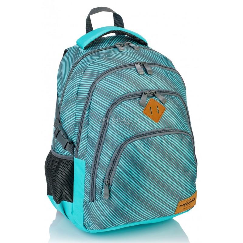 65b37017cce06 Plecak młodzieżowy HEAD miętowy w paski HD-72 A - super modny plecak dla  młodzieży
