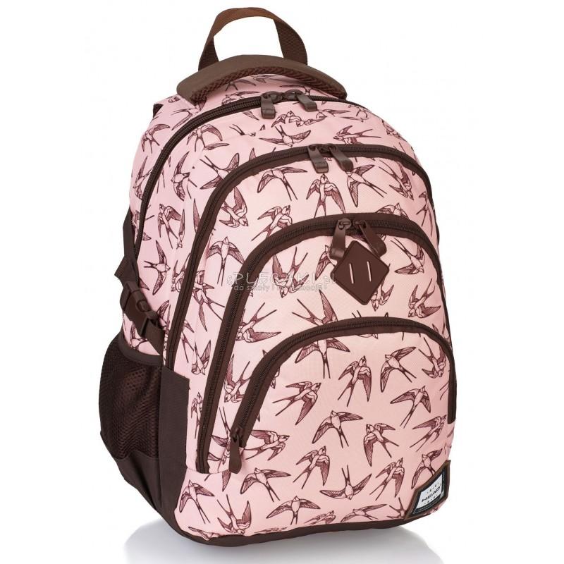 788c2128be838 Plecak młodzieżowy HEAD pudrowy z jaskółkami HD-94 A - modny plecak dla  dziewczyny