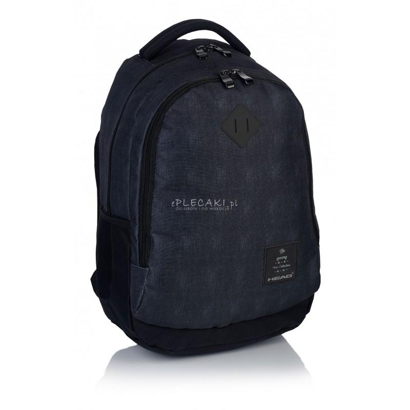 5343d13237f52 ... Plecak młodzieżowy HEAD ciemny jeans HD-70 B - gładki plecak dla  chłopaka