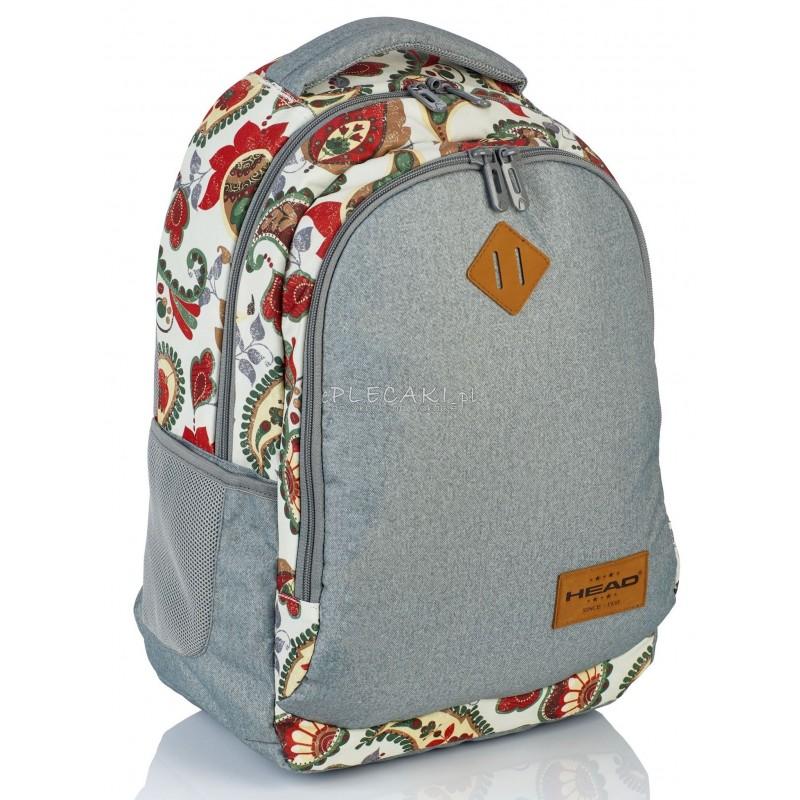 ff687a95bb2b8 Plecak młodzieżowy HEAD boho i szary melanż HD-76 B - plecak dla dziewczyny  szary
