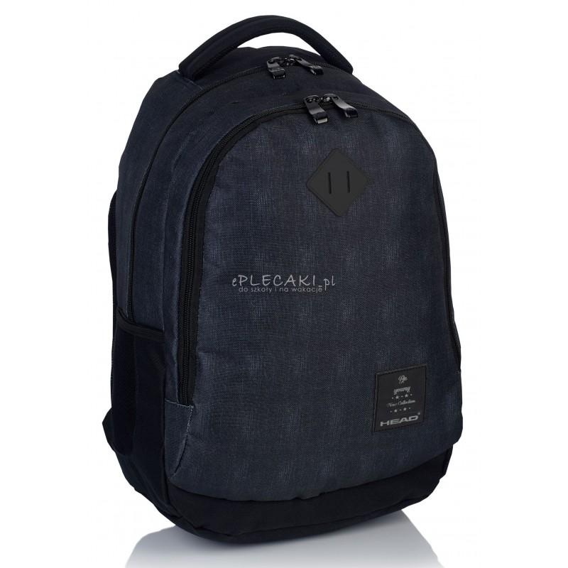 efb7eeeb7c6c1 Plecak młodzieżowy HEAD ciemny jeans HD-70 B - gładki plecak dla chłopaka