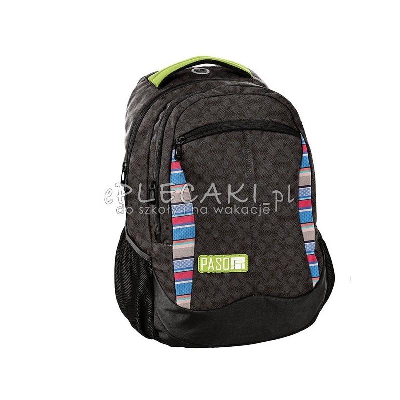 8522a6551b5e9 Czarny plecak z kolorowymi detalami do szkoły Paso Unique