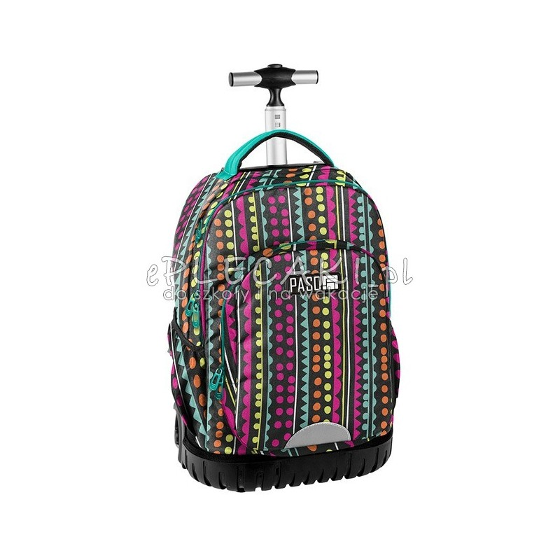 70380b244cf38 Kolorowy plecak na kółkach z zielonymi zamkami dla dziewczyny od Paso