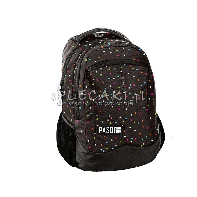 ff5d93b0f2d0f Czarny plecak w kropki do szkoły do klas 1-3 Paso Unique