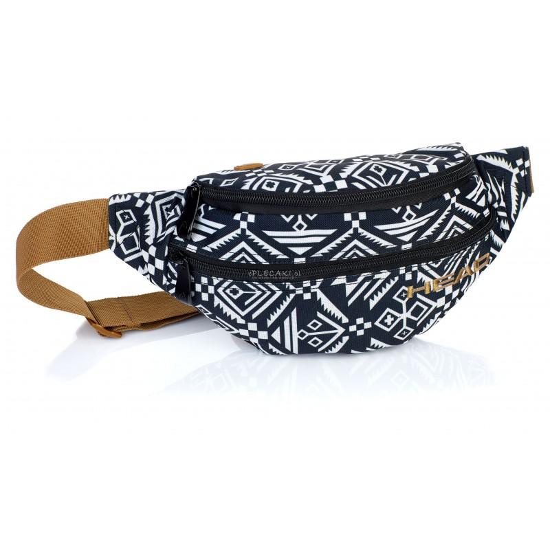 Saszetka na pas / nerka HEAD aztecka HD-147 - nerka aztecka, czarno-biała nerka, nerka dla dziewczyny, nerka boho