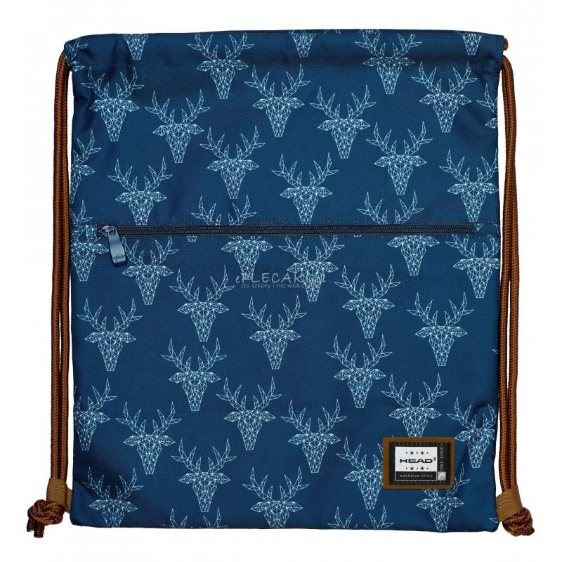 edef402253fb5 Worek na buty / plecak na sznurkach HEAD jelenie HD-136 młodzieżowy wzór ze  zwierzętami