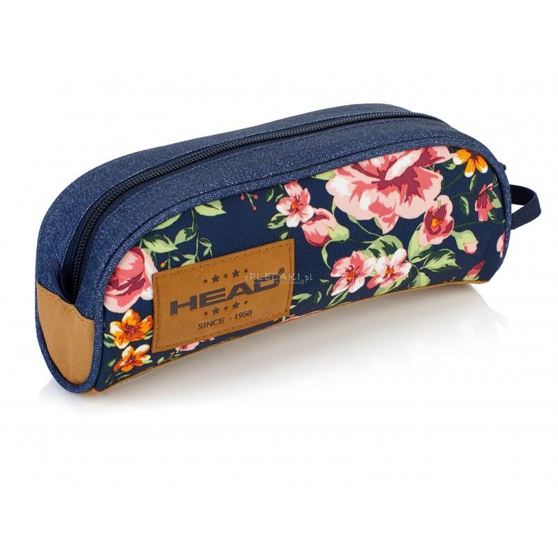 74441e2a5c6bc Piórnik szkolny   saszetka pojedyncza HEAD róże na jeansie HD-46 C dla  dziewczyny