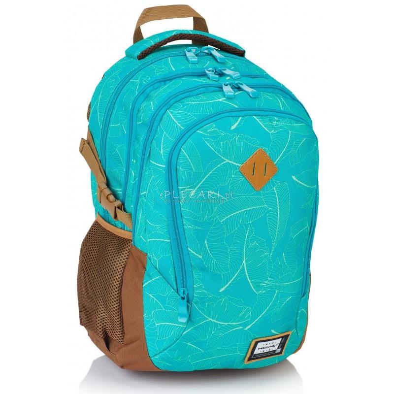 6f32bbdcbb063 Plecak młodzieżowy HEAD seledynowe listki HD-92 E supermodny plecak do  szkoły