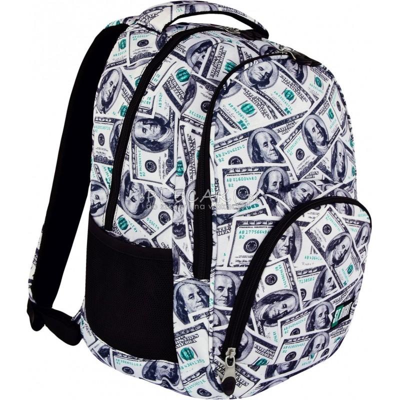 Plecak młodzieżowy 23 ST.RIGHT DOLLARS dolary BP23 - modny plecak szkolny, młodzieżowy plecak szkolny