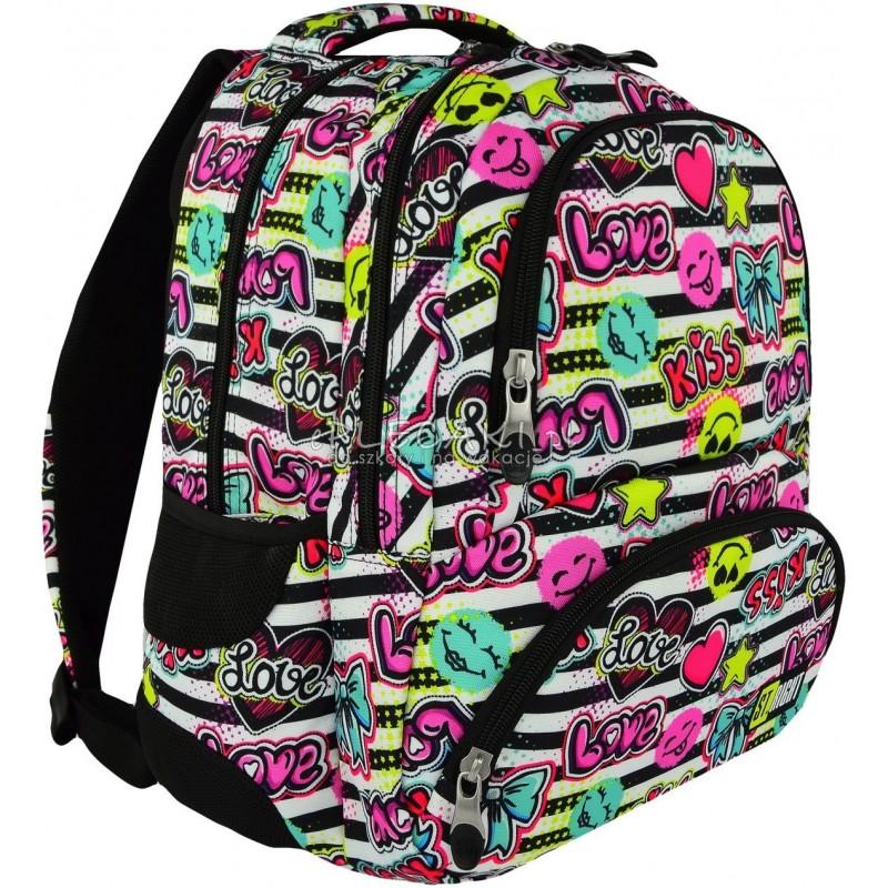 a32c7fbb18077 Plecak młodzieżowy ST.RIGHT KISS   LOVE emotikony i napisy BP07 modny  plecak dla dziewczyny