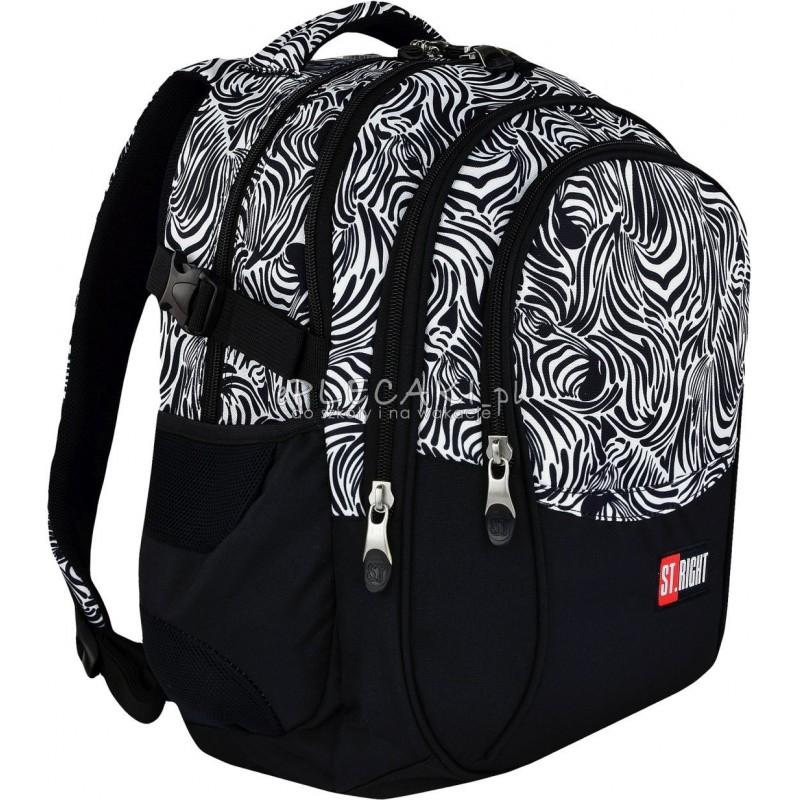 a0cf7d821eac0 Plecak młodzieżowy 01 ST.RIGHT ZEBRA czarno-biały plecak biało-czarne paski,