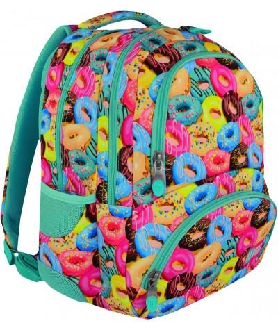 Plecak młodzieżowy ST.RIGHT DONUTS ciastka/pączki BP07 - modny plecak dla dziewczyny w słodkie donuty, pastelowe kolory