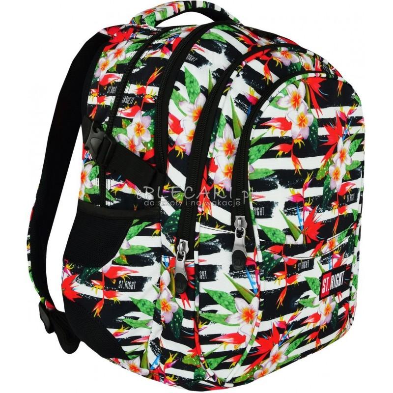 564ca8f39168b Plecak młodzieżowy 01 ST.RIGHT TROPICAL STRIPES hibiskus - najmodniejszy  wzór plecaka szkolnego dla nastolatek