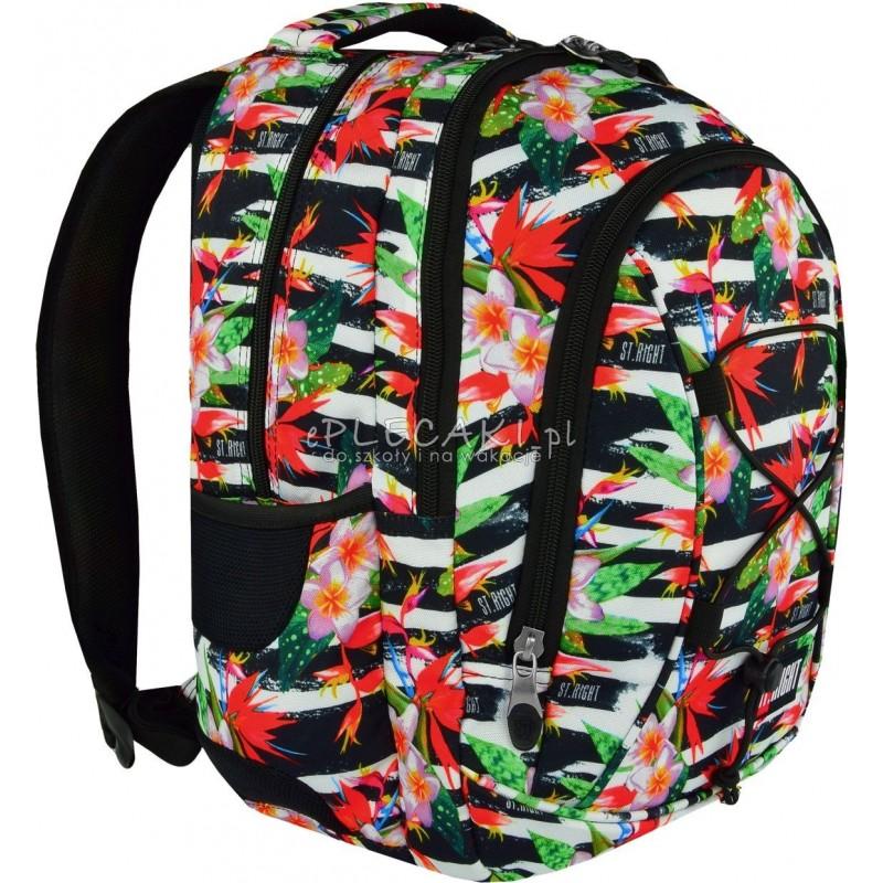 e85bdb967048e Plecak młodzieżowy 32 ST.RIGHT TROPICAL STRIPES hibiskus - modny plecak do  szkoły dla nastolatki