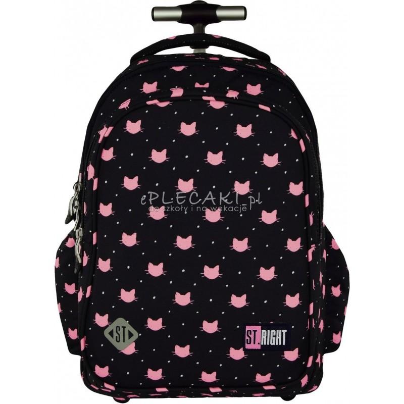 Plecak na kółkach ST.RIGHT MEOW koty - plecak w różowe kotki na granatowym tle hit dla dziewczynek