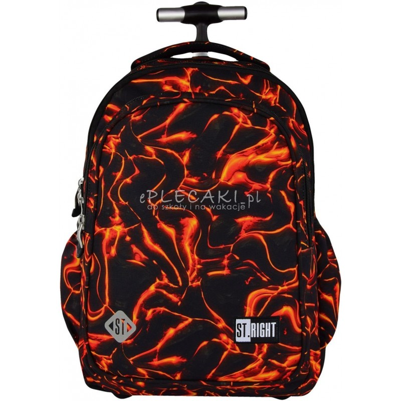 Plecak na kółkach ST.RIGHT LAVA gorąca lawa - pomarańczowa lawa na czarnym tle, super plecak dla chłopaka