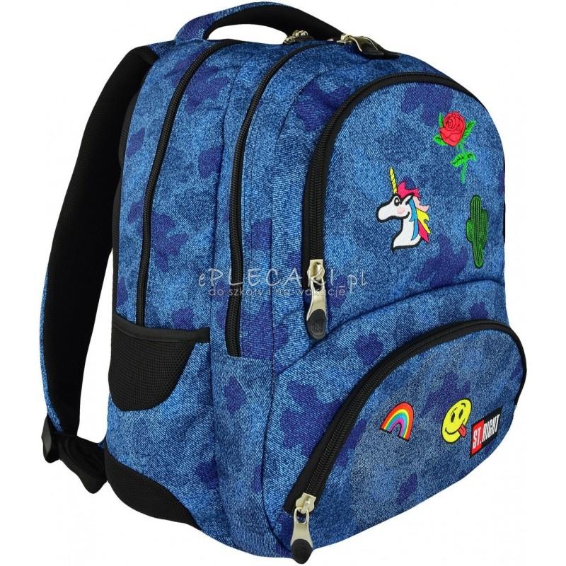 632cd87e1f039 Plecak młodzieżowy ST.RIGHT JEANS & BADGES naszywki na dżinsie BP07 modny  plecak dla dziewczyny