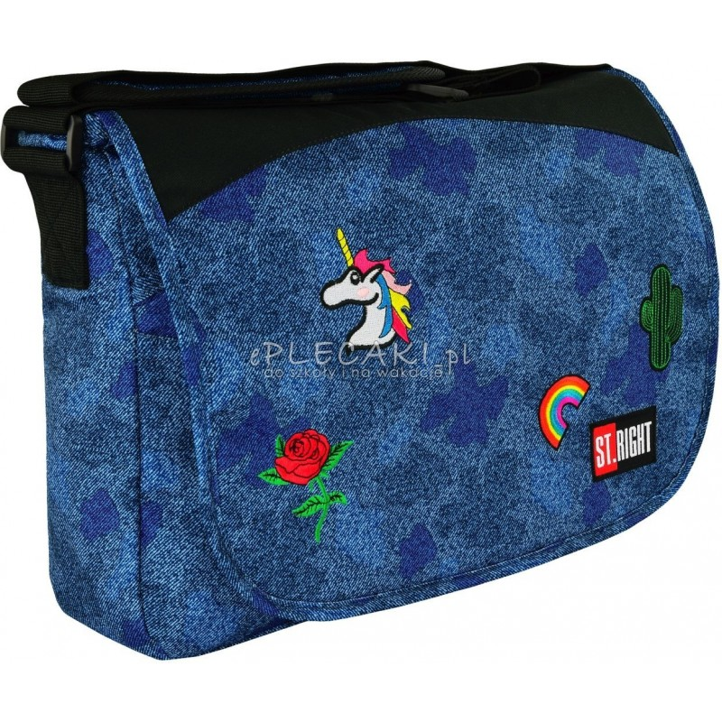 Torba na ramię / listonoszka ST.RIGHT JEANS & BADGES dżins z naszywkami SB01modna torba na ramię dla dziewczyny