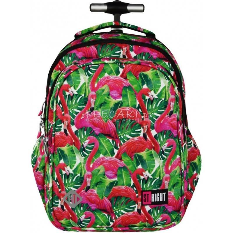 Plecak na kółkach ST.RIGHT FLAMINGO PINK&GREEN flamingi - różowe flamingi, modny plecak w tropikalne motywy dla dziewczyny