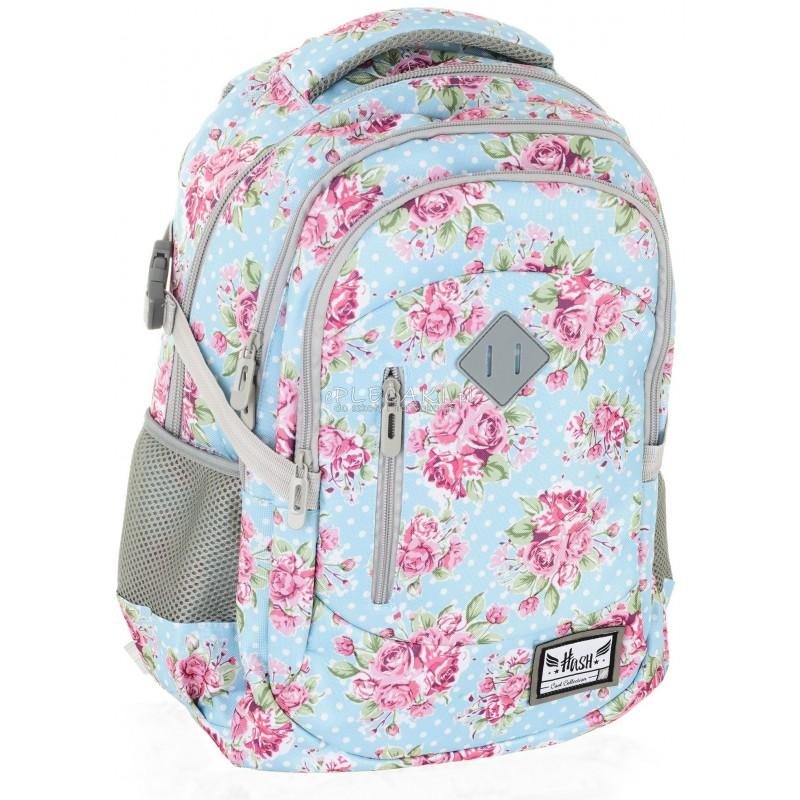 be87a97630a1f Plecak młodzieżowy HASH różyczki HS-01 H - plecak w kwiaty dla dziewczyny