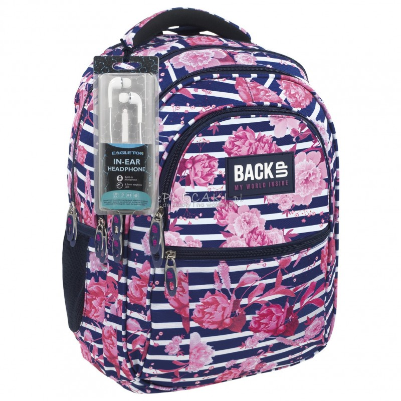 7da1dcda15ed7 Plecak BackUP B 34 begonie do szkoły + GRATIS słuchawki - plecak w kwiaty