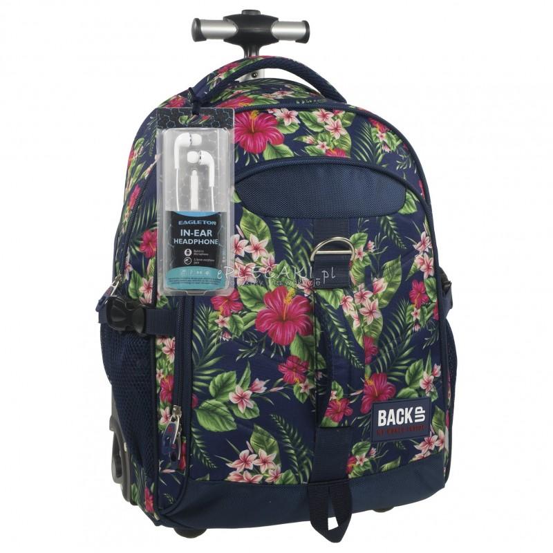 Plecak na kółkach BackUP K 12 hibiskus do szkoły - plecak na kółkach w kwiaty, modny plecak dla dziewczyn