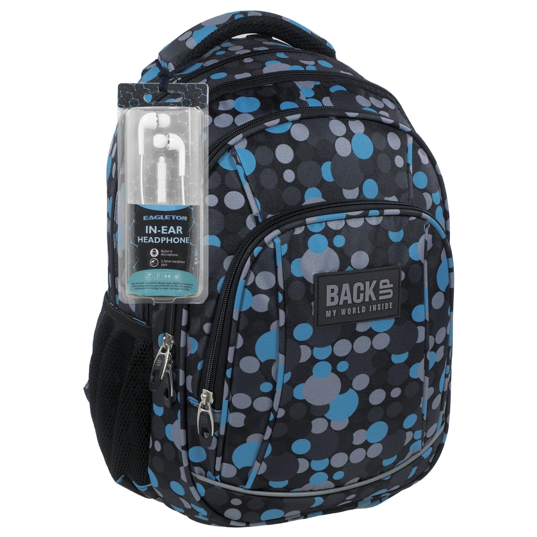 26f14cc06a35f Plecak szkolny BACK UP A 16 szaro-niebieskie kropki dla młodzieży
