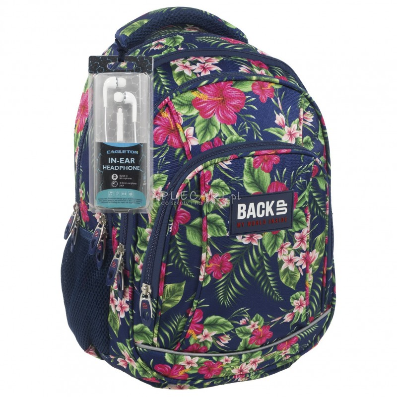 4f66f882404b1 Plecak BackUP A 12 hibiskus do szkoły + GRATIS słuchawki - modny plecak dla  dziewczyny