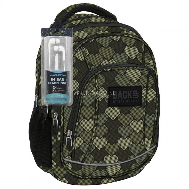 9b90a3b323179 Plecak BackUP A 10 serca military do szkoły + GRATIS słuchawki - modny  plecak dla dziewczyn