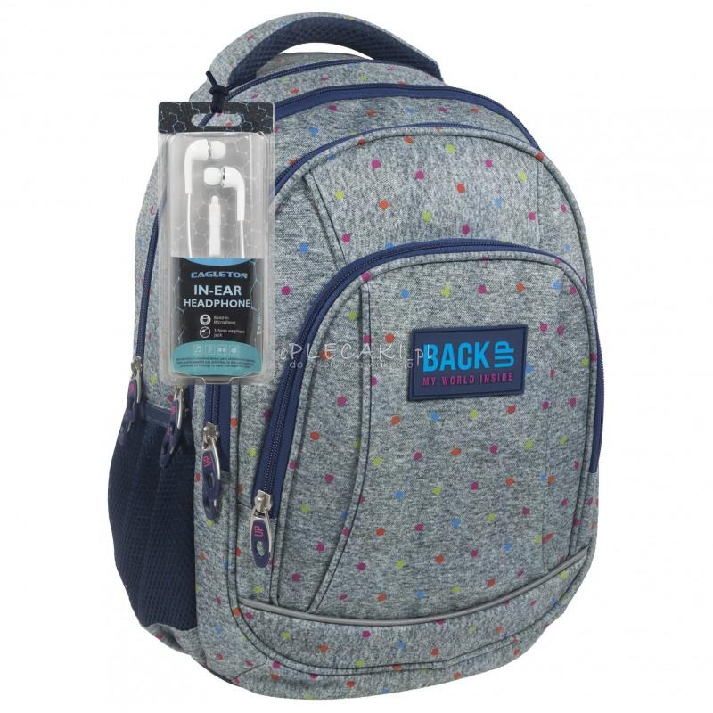 5877a059d336b Plecak BackUP A 11 szary w kropki do szkoły + GRATIS słuchawki - modny  plecak dla