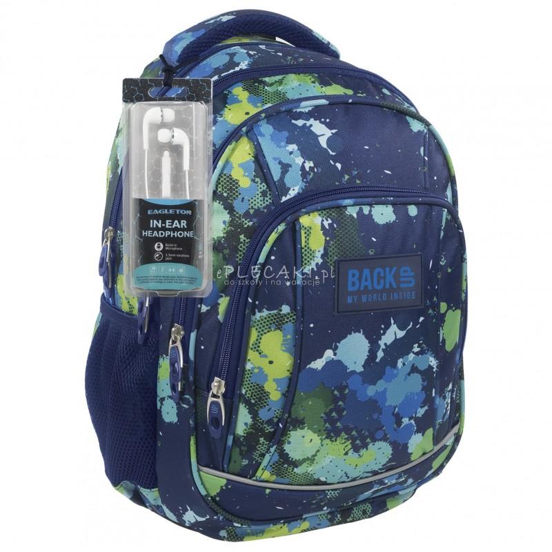 24ada1f9ca0fa Plecak BackUP A 22 akwarela do szkoły + GRATIS słuchawki - młodzieżowy  plecak