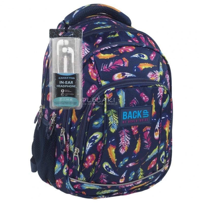 007d8d6183b96 Plecak BackUP A 24 pióra do szkoły + GRATIS słuchawki - młodzieżowy plecak,  modny plecak