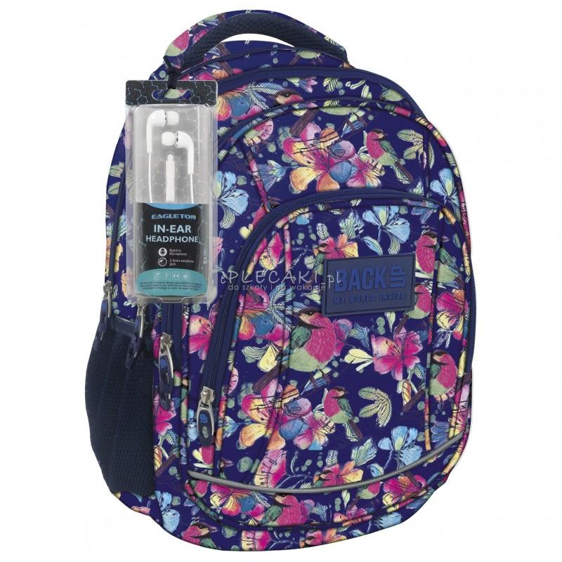 72eba1318c119 Plecak BackUP A 4 łąka nocą do szkoły + GRATIS słuchawki - młodzieżowy  plecak, modny