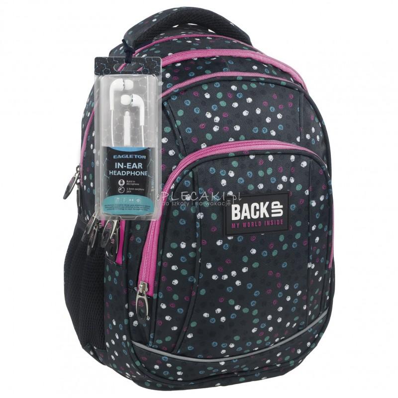 a698f0f850cc9 Plecak BackUP A 21 czarny w kropki do szkoły + GRATIS słuchawki -  młodzieżowy plecak