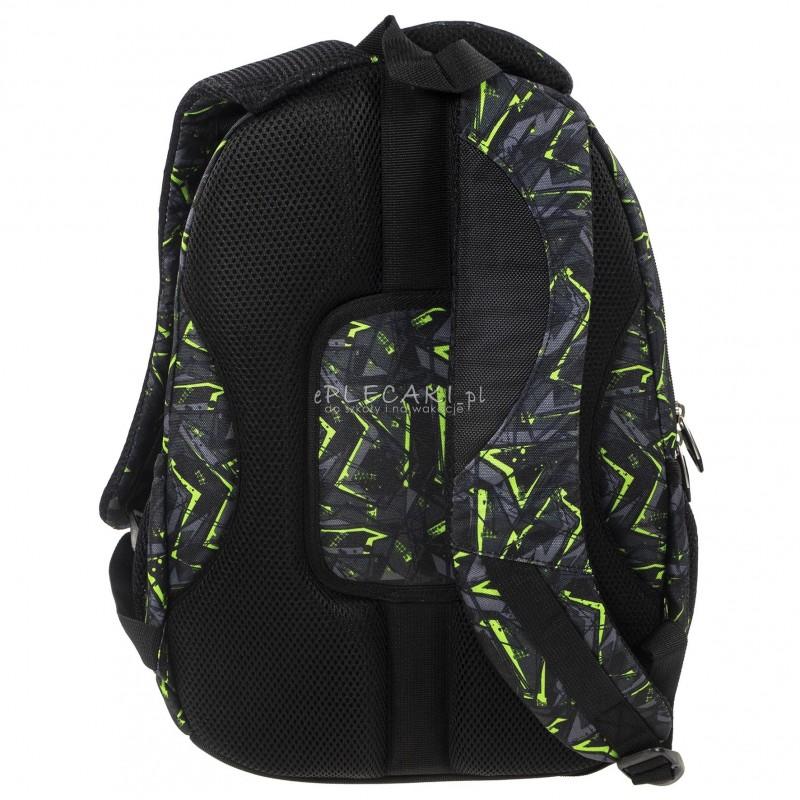 63f2f1bf564e5 ... Plecak BackUP A 31 szaro-zielona abstrakcja do szkoły + GRATIS słuchawki  - młodzieżowy plecak ...