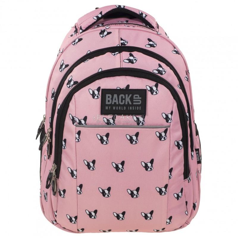 Plecak szkolny BACK UP H 17 w pieski buldogi dla dziewczyn