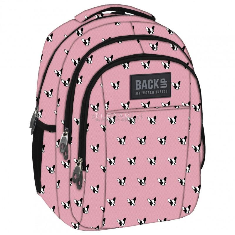 0084deeec9886 Plecak BackUP H 17 buldogi do szkoły - plecak dla dziewczynki w buldogi,  plecak w