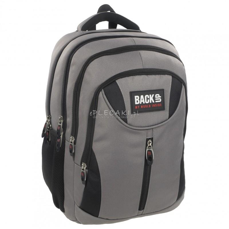 0640112139461 Plecak BackUP E 37 szary do szkoły - plecak dla dorosłych