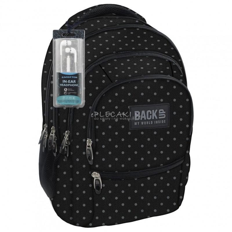 9777cd55a56e7 Plecak BackUP C 28 czarny w szare kropki do szkoły - fajny plecak dla  młodzieży,