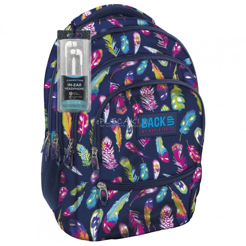 2d61365c29fc3 Plecak BackUP C 24 piórka do szkoły - fajny plecak dla dziewczyny, modny  plecak dla