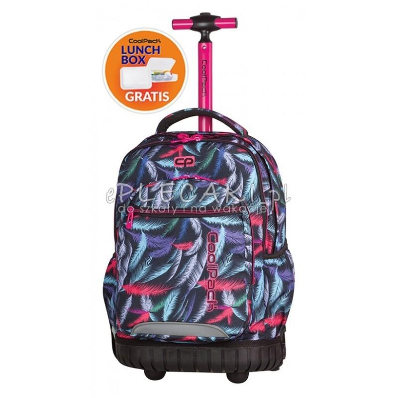 cec86eb53e5c9 Plecak na kółkach dla dziewczyn CoolPack CP w kolorowe pióra SWIFT PLUMES  964 + śniadaniówka