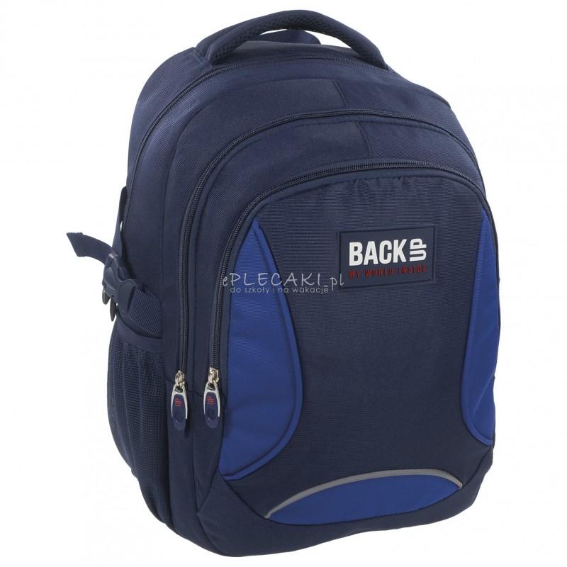 2bcd06b8124b3 Plecak BackUP F 36 granatowy z niebieskim do szkoły - gładki plecak dla  chłopaka