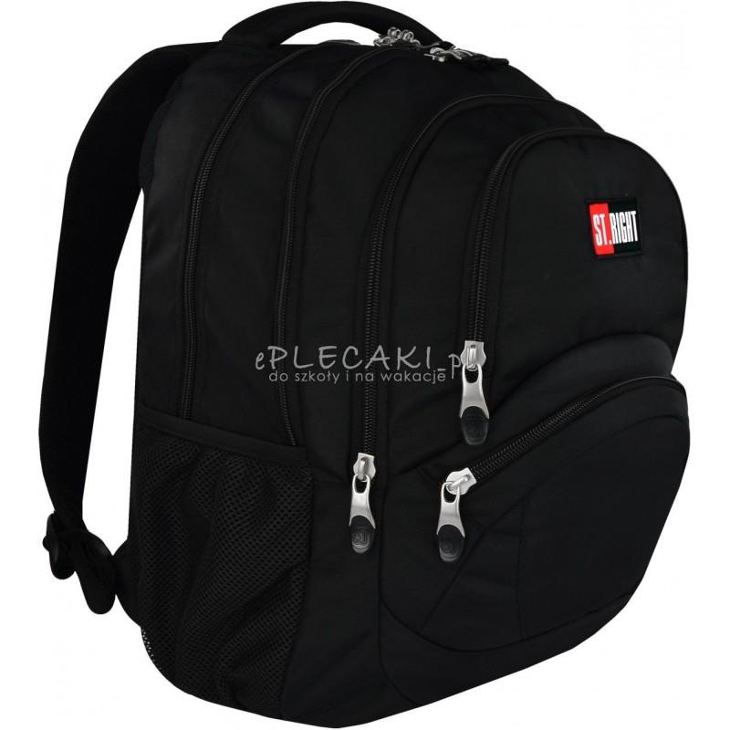 c54b729f1e59a Duży plecak szkolny 05 ST.RIGHT 3-komory ST.BLACK czarny dla chłopaka