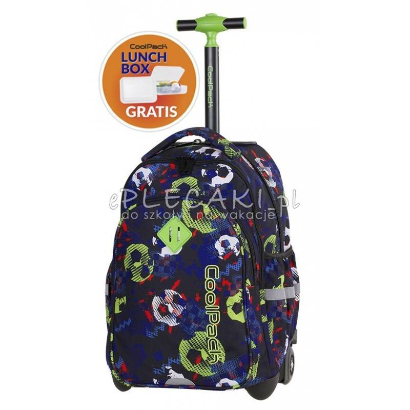 Plecak na kółkach z piłką dla chłopaka CoolPack granatowy zielony CP JUNIOR FOOTBALL piłka - A190 + ŚNIADANIÓWKA