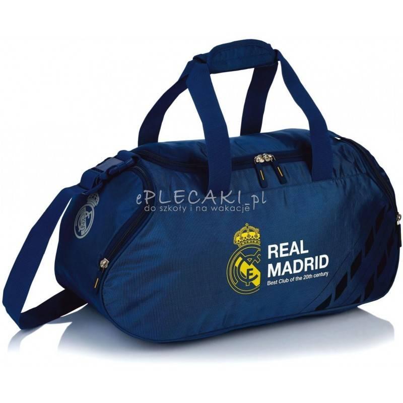 f567d8db72823 Męska torba sportowa Real Madryt ciemnogranatowa nylon na siłownię trening