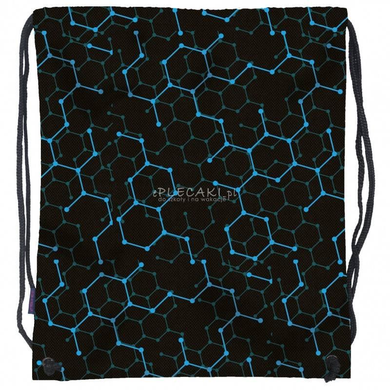 f3cac61de2a29 Worek / plecak na sznurkach czarny dla chłopaka BackUP w niebiesko-zielony  wzór NA OBUWIE