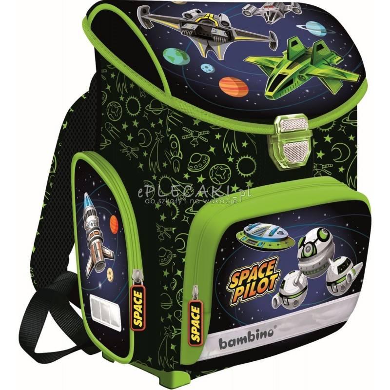 Tornister szkolny ze statkami kosmicznymi czarny i zielony dla chłopca BAMBINO SPACE PILOT